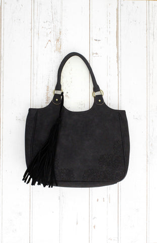 Perf Tote With Tassel In Black
