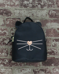 Check Meowt Backpack in Black & Rose Gold