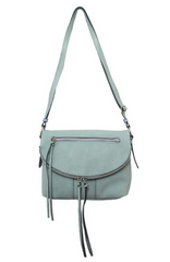 Round Zip Crossbody in Mint
