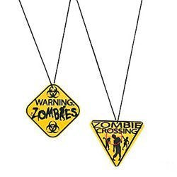 Zombie Warning Sign Necklaces (12 Pack)/Party Favors/Halloween/Goody Bags - Funzalo Toys