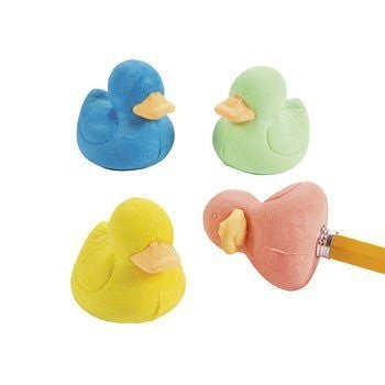 Rubber Ducky Pencil Top Erasers - 12 pcs - Funzalo Toys