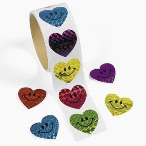 100 Laser Smile Face Heart Roll Stickers - Funzalo Toys