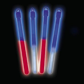 "7"" PATRIOTIC BICOLOR LIGHT STICK (1 DOZEN) - BULK - Funzalo Toys"