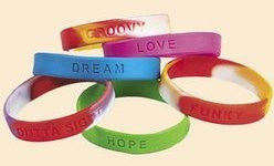100 pc wholesale lot of kids RUBBER BRACELETS with assorted sayings [Toy] - Funzalo Toys