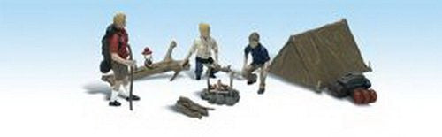 Woodland Scenics HO Scale Scenic Accents Figures/People Set Campers/Tent - Funzalo Toys