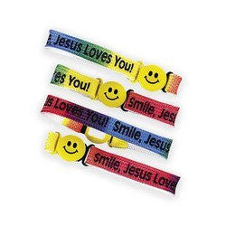 "Dozen Nylon ""Smile! Jesus Loves You!"" Friendship Bracelets - Funzalo Toys"