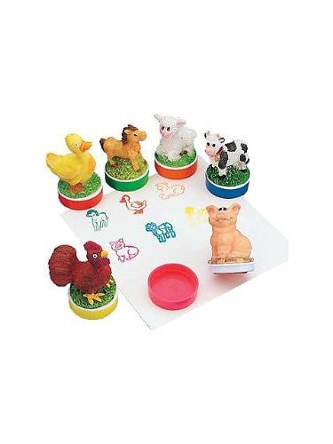 12 Resin Farm Animal Stamps - Funzalo Toys