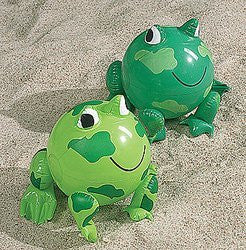12 Inflatable Frog Beach Balls - Funzalo Toys