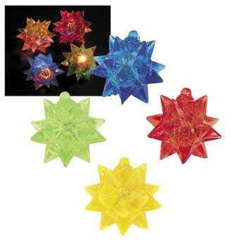 12 Rubber Flashing Star Balls - Glow Products & Light Up & Flashing Toys - Funzalo Toys