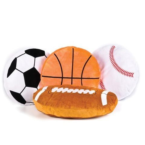 "16"" Plush Sports Ball Pillow Asst Case Pack 4 - Funzalo Toys"