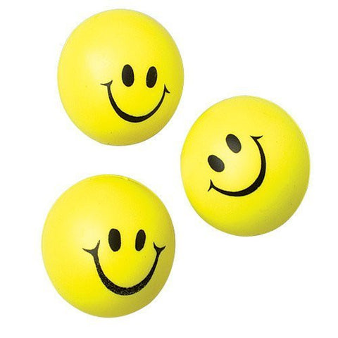 (Pack of 12) Happy Face Squeeze Balls - Funzalo Toys