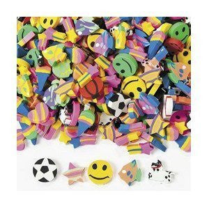 Fun Express Mini Eraser Assortment Novelty (500 Pieces) - Funzalo Toys