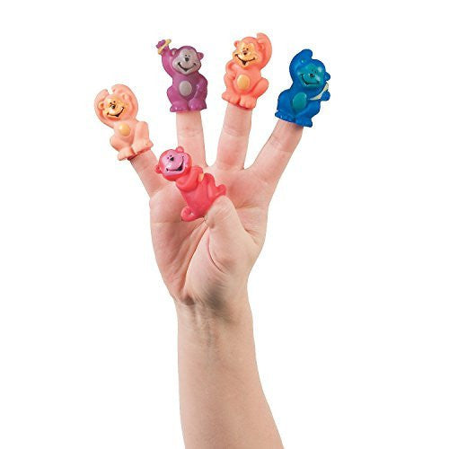 12 Neon Monkey Vinyl Finger Puppets ZOO Animal Jungle Party Favor Novelty TOY - Funzalo Toys