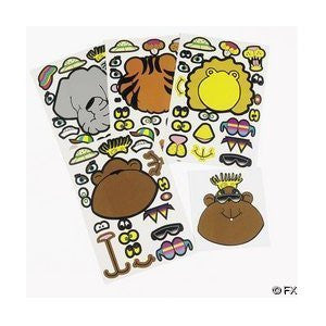 12 Sheets of Make Your Own Safari Animal Stickers - Funzalo Toys
