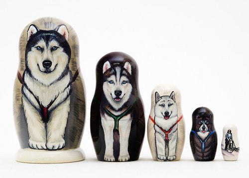 "Alaskan Dog Sled Russian Nesting Doll 5pc./6"" - Funzalo Toys"