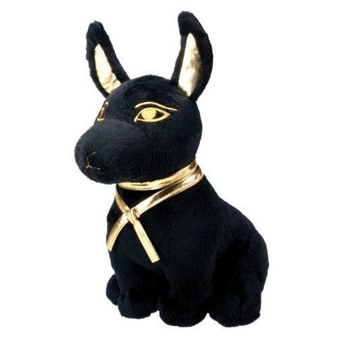 Black and Gold Anubis Dog Puppy Egyptian Stuffed Plush Doll - Funzalo Toys