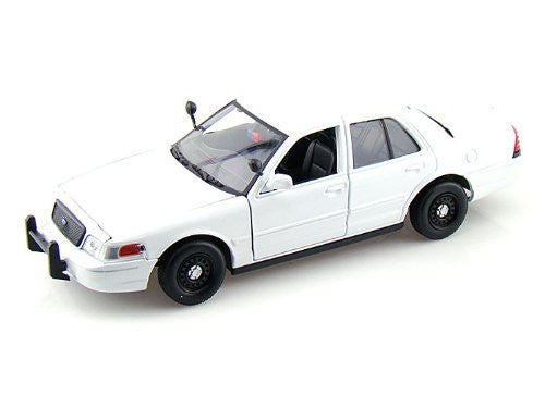 2010 Ford Crown Victoria Police Interceptor Slick Top 1/24 Plain White - Funzalo Toys