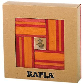 Kapla 40 Unique Building Blocks w/ Book Red and Orange - Funzalo Toys