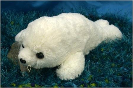 "Wishpets 12"" Floppy Soft Harp Seal White Plush Toy - Funzalo Toys"