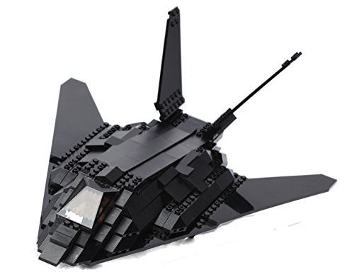 Ultimate Soldier Stealth Fighter Jet Military Building Kit, Black - Funzalo Toys