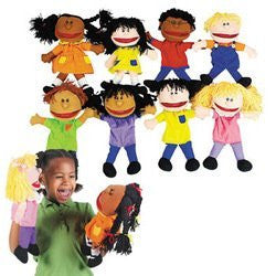 Fun Express - Plush Happy Kids Hand Puppets Set of 8 Multi-Ethnic Collection - Funzalo Toys