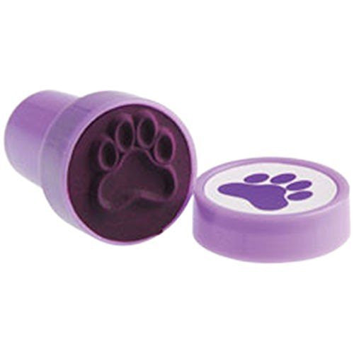 Lot Of 6 Purple Dog Puppy Paw Print Mini Stampers - Funzalo Toys