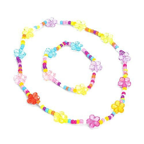 Stretch Flower Necklace & Bracelet Sets (1 dz) - Funzalo Toys