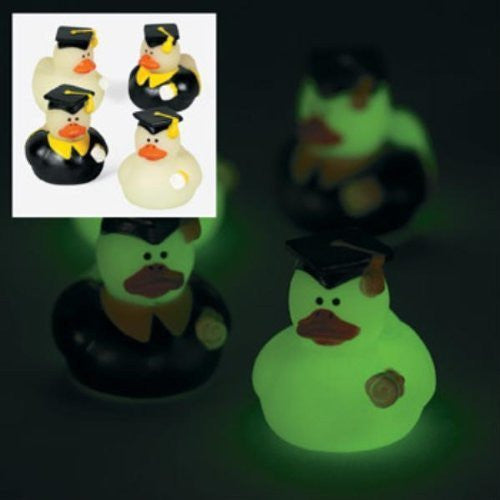 2 Dozen (24) Mini Glow-in-the-Dark Graduation Rubber Ducky Party Favors - Funzalo Toys
