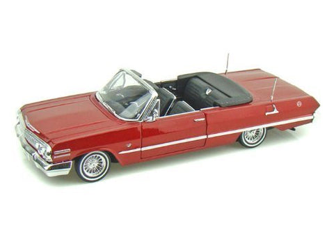 1963 Chevy Impala SS Convertible Custom Lowrider 1/24 Red - Funzalo Toys