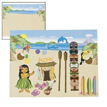 12 Make-A-Luau Scene Stickers - Funzalo Toys