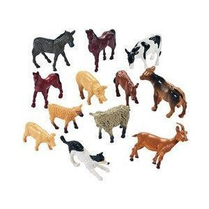 Farm Animal Miniature Toy Figures (1-Pack of 12) - Funzalo Toys