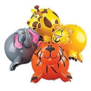 12-pack Inflatable Jungle Animal Shaped Beach Balls, Assorted Colors - Funzalo Toys