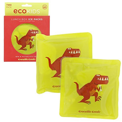 "Crocodile Creek Kids Eco Reusable Dinosaur T-Rex Ice Packs for Lunch Boxes (Set of 2), Green, 5"" - Funzalo Toys"