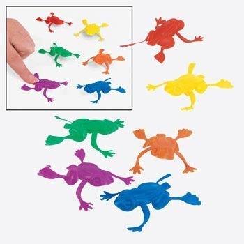 1 Gross (144) ~ Jumping Frogs ~ 2 in Plastic ~ New ~ Party Favors - Funzalo Toys