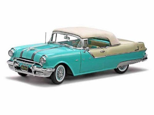 1955 Pontiac Star Chief Closed Convertible 1/18 White Mist / Nautilus Blue - Funzalo Toys