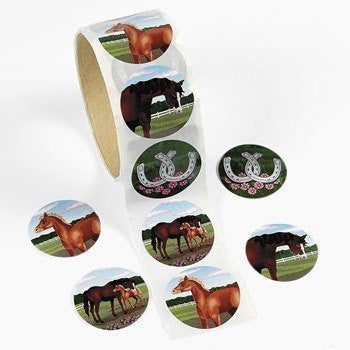 "Fun Express - Horse Stickers, 1 Roll, 1 1/2"", Assorted Designs (1-Pack of 100) - Funzalo Toys"