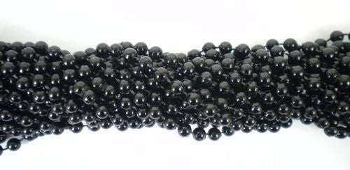 33 inch 07mm Round Black Mardi Gras Beads - 6 Dozen (72 necklaces) - Funzalo Toys