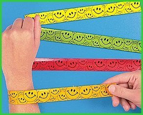 12 Smiley Face Slap Bracelets - Funzalo Toys