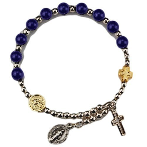Amethyst Wrap Rosary Bracelet with Silver Oxidized Miraculous Medal and Cross (BR564C) - Funzalo Toys