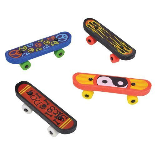 "12 ~ Skateboard Erasers ~ Approx. 2.4"" ~ New ~ Party Favors, Treasure Chest Prizes - Funzalo Toys"