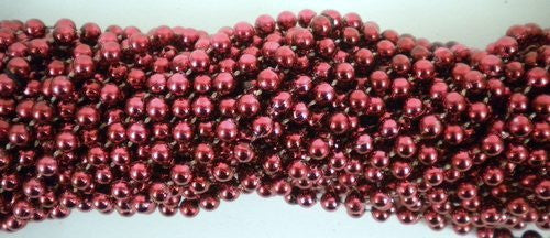 33 inch 07mm Round Metallic Burgundy Mardi Gras Beads - 6 Dozen (72 necklaces) - Funzalo Toys