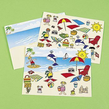 12 Make A Beach Sticker Sheets - Funzalo Toys