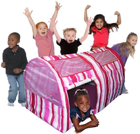 BED TENT-PINK STRIPED TENT - Funzalo Toys