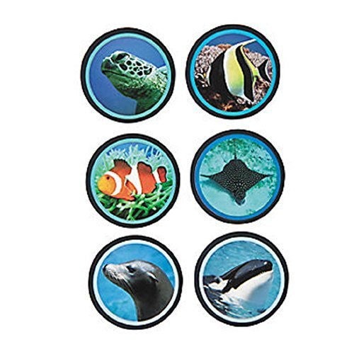 "1 Roll ~ Ocean Life Roll Stickers ~ 100 Stickers / Approx. 1.5"" ~ New / Shrink-wrapped - Funzalo Toys"