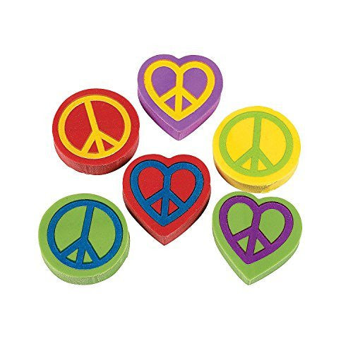 "1"" Peace Sign Erasers (2 dz) - Funzalo Toys"