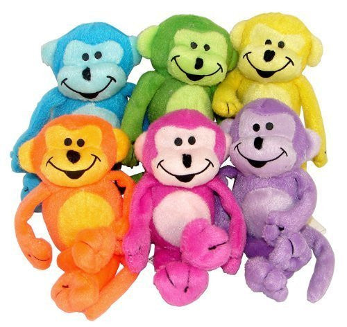 Plush Neon Bean Bag Monkeys (1 dz) [Toy] - Funzalo Toys