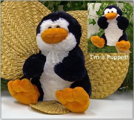 "Wishpets 9"" Penguin Super Soft Hand Puppet - Funzalo Toys"