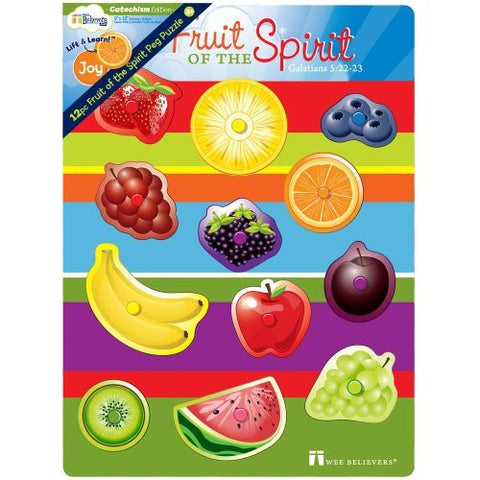 12 pc Fruit of the Spirit Peg Puzzle - Funzalo Toys