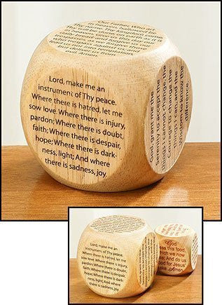 "Youth Childrens Catholic Gift Learning Toy Large 2 1/4"" Wood Original Our Father Prayer Cube - Funzalo Toys"