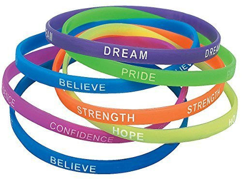 "Rubber Thin Inspirational Bracelets (12 Pack) 7 1/2"". Rubber. - Funzalo Toys"